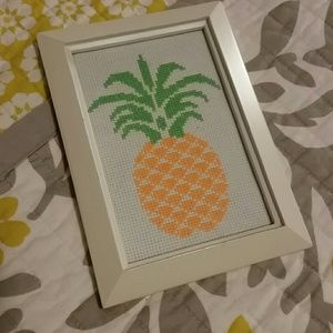 Handmade cross stitched pineapple picture